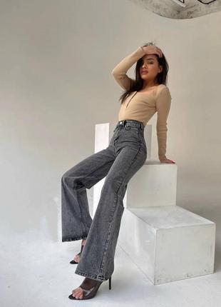Стильные джинсы клеш от колена серые, weight leg 25,28,29,30p турция как zara