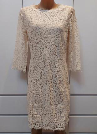 Шикарное нарядное платье h&m р. 46  с дорогого кружева/тянется