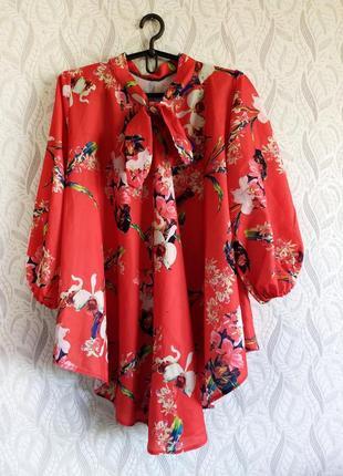 Asos асиметрична червоно-коралова блуза з пишними рукавами та зав'язками батал