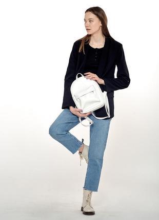 Белый женский вместительный рюкзак летний из экокожи