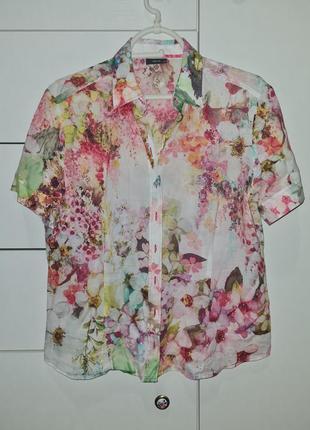 Тонкая акварельная блуза рубашка летняя с коротним рукавом