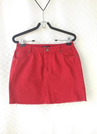 Красная джинсовая мини юбка denim