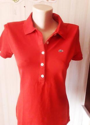 Красное трикотажное поло футболка lacoste оригинал!размер 40