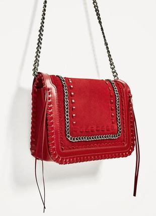 Червона шкіряна сумочка через плече/zara