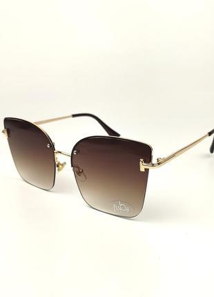 Солнцезащитные очки flyby kitty с коричневой металлической оправой