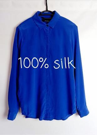 100% шёлк. шелковая блуза ультрамариновая от люкс бренда the kooples