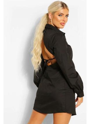 Черное платье рубашка с открытой спиной