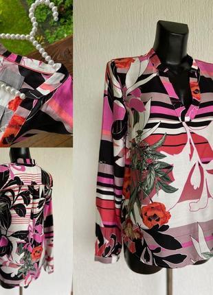 Фирменная стильная качественная натуральная вискозная блуза цветочный принт