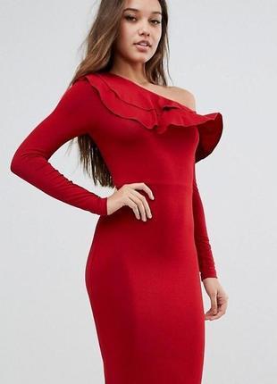 Красное платье на одно плечо с воланом, длинный рукав h&m р.46-48 (14)