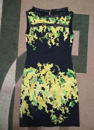 Коктельное миди черное желтое праздничное вечерне выпускное платье плаття сукня хс, ххс резмер с