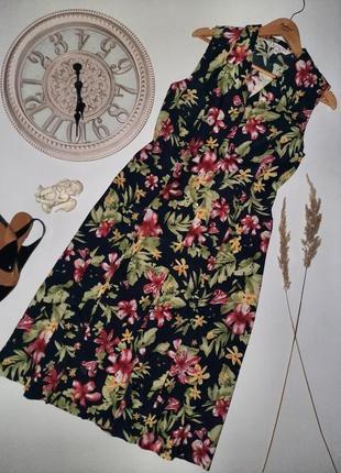 Стильное  миди платье/натуральное платье цветочный принт
