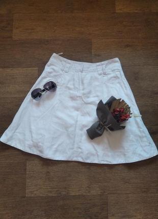 Юбка джинсовая белая