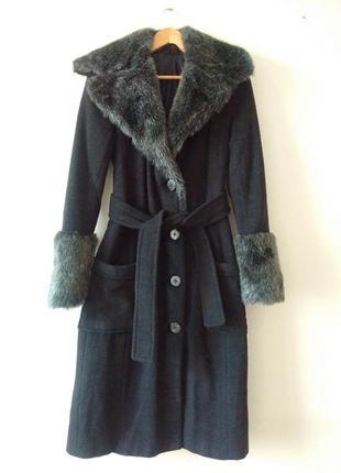 Утепленное зимнее шерстяное пальто пальто-халат на синтепоне с мехом и  карманами