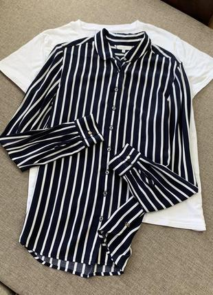 Чёрная блузка рубашка в полоску tommy hilfiger оригинал