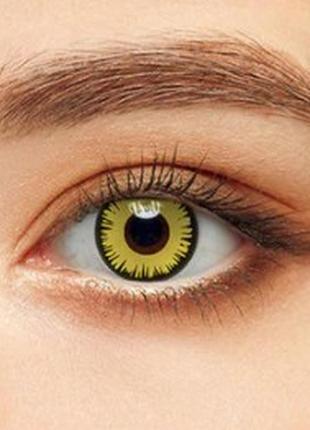 Линзы декоративные для глаз волна, желтые+ контейнер для линз в подарок