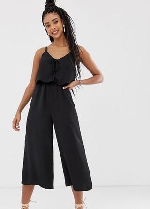 Шикарный чёрный комбинезон з штанами клёш клеш модный лётный