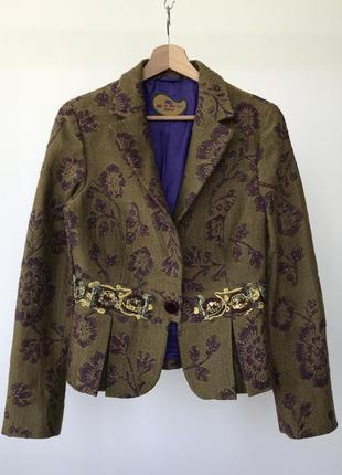 Винтажный жакет с аппликацией etro milano tweed blazer jacket
