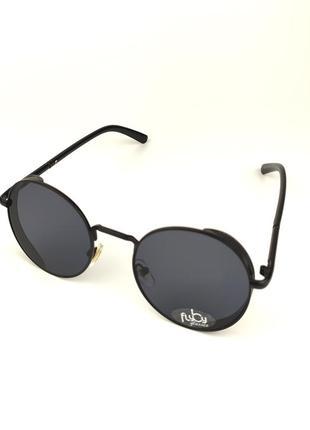 Солнцезащитные очки flyby «palm» в черной металлической оправе с черной линзой
