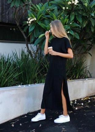 Чёрное миди платье-футболка с разрезом, оверсайз