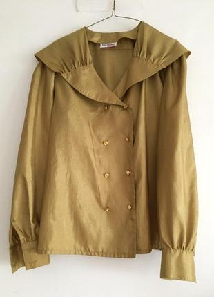 Витражная блуза с отложным воротником цвета античного золота стиль marni