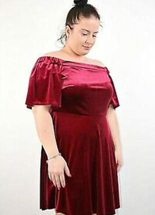 Велюровое бархатное платье, бордо