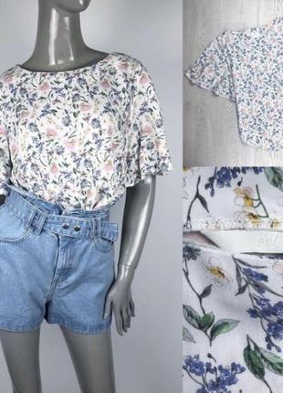 Блуза-футболка летняя h&m, цветочный принт, натуральная ткань