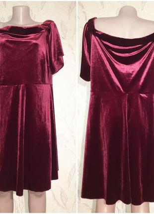 Велюровое бархатное платье, бордо3 фото