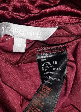 Велюровое бархатное платье, бордо4 фото