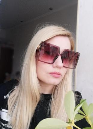 Эксклюзивные брендовые солнцезащитные женские очки трендовые квадраты, цвет марсала