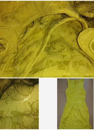 Платье жаккардовое лимонного цвета.