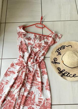 Платье на лето миди,платье-халат,платят літнє на пуговицах,в цветочний принт,в квітковий принт