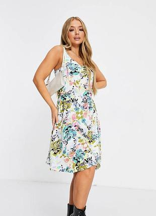 Новое натуральное разноцветное платье asos! в цветы! хлопок!