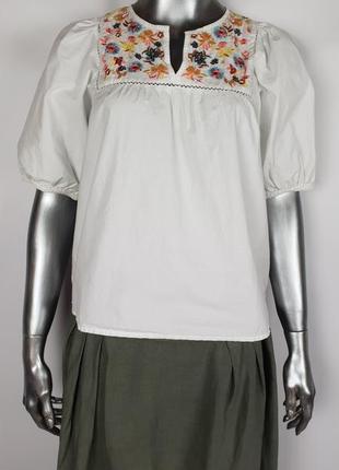 Натуральная блуза с вышивкой zarap.xs/s