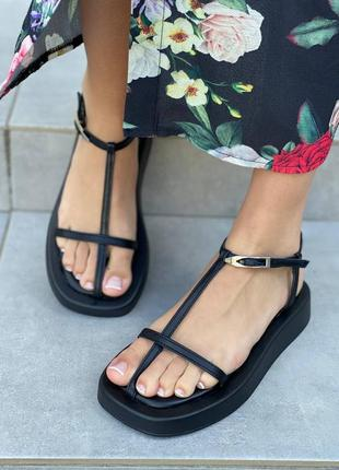 Босоножки сандалии женские кожаные чёрные 36-41