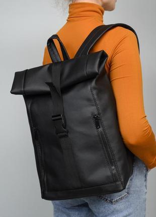 Брендовый женский черный  рюкзак авиа ролл топ для путешествий