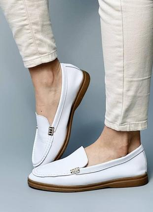 Шикарные женские кожаные белые туфли лоферы балетки мокасины