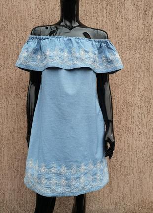 Сукня хлопковый сарафан открытые плечи denim co