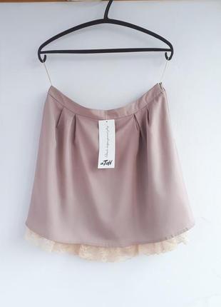 Новая шелковая юбка andre tan юбка шелк 55 % пудровая юбка с кружевом юбка из шелка юбка с шелком