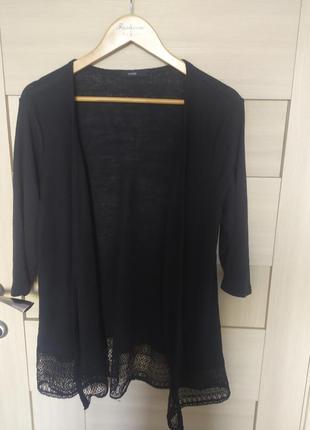 Красивая стильная чёрная черная накидка рукав три четверти с кружевом в рубчик с м л хл