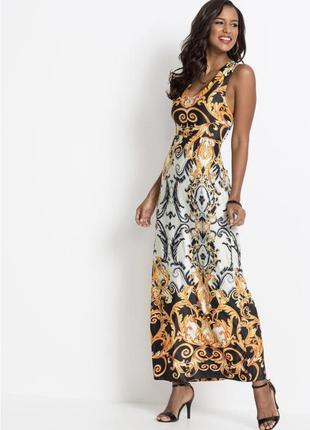 Длинный сарафан , платье с принтом