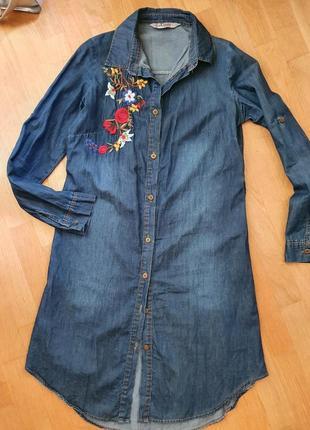 Джинсовое платье рубашка вышиванка