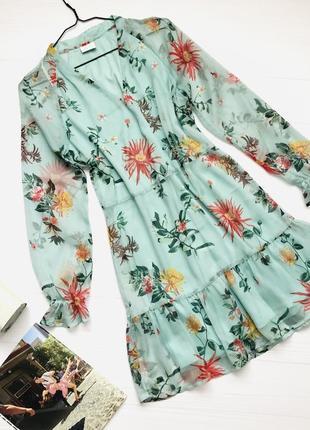 Шифоновое светло бирюзовое платье в цветы