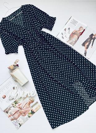 Платье в горошек длины миди большого размера