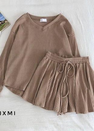Костюм юбка-шорты беж бежевый шорты юбка трикотаж рубчик хит тренд1 фото