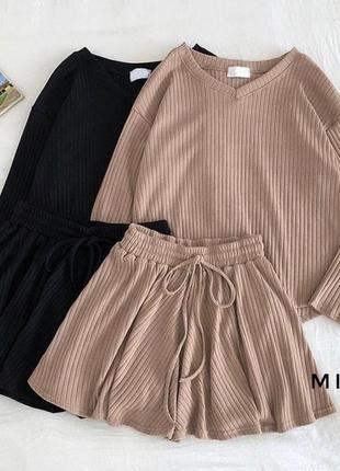 Костюм юбка-шорты беж бежевый шорты юбка трикотаж рубчик хит тренд2 фото