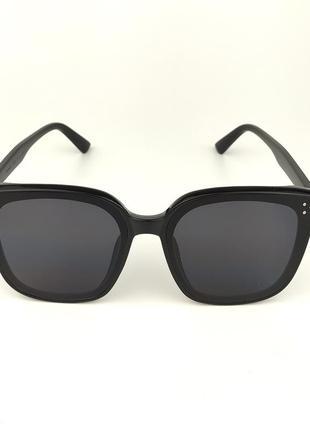 Солнцезащитные очки «grand» в черной роговой оправе с черной линзой