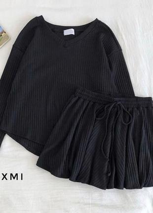 Костюм черный юбка-шорты трикотаж рубчик юбка шорты