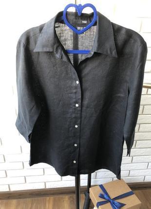 1+1=3 чёрная рубашка, 100% лён ,h&м