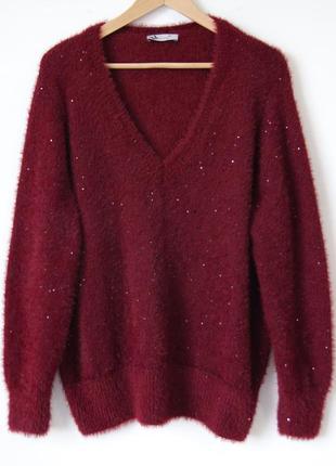 Потрясающий бордовый свитер, украшенный пайетками