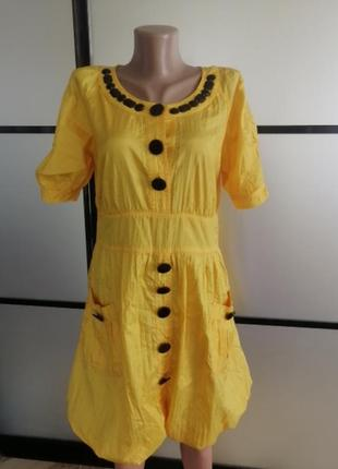 Яркое желтое платье м-л-хл